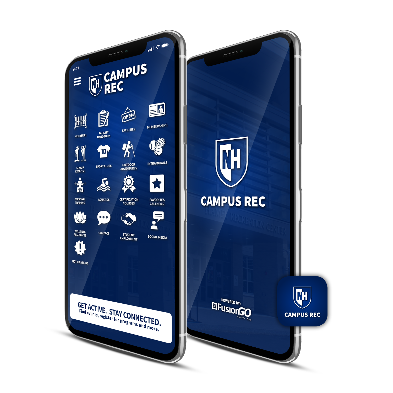 rendering of campus rec app on a smart phone