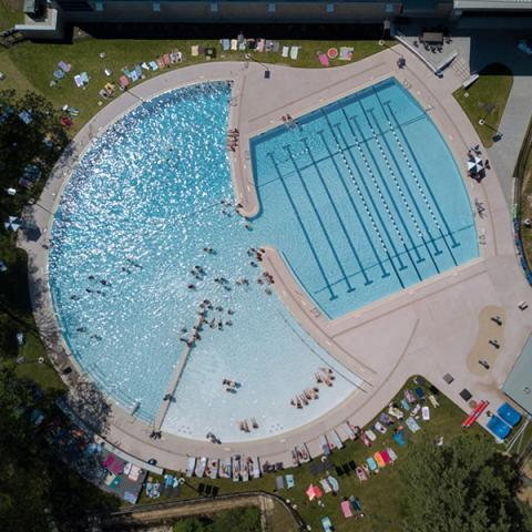 Aerial view of UNH Outdoor Pool.